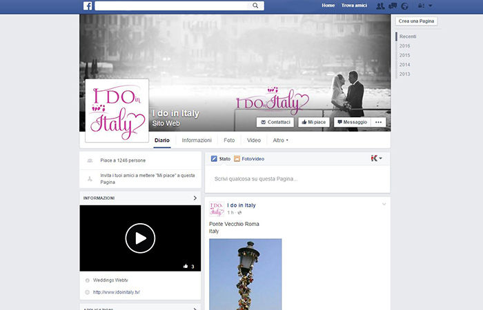 Pagina facebook I do in Italy